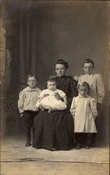 Portrait of a mother and her four children