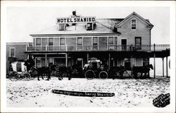 Central Oregon Stages outside the Hotel Shaniko Postcard