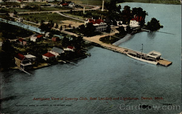 Aeroplane view of Country Club, Boat Landing and Lighthouse Detroit Michigan