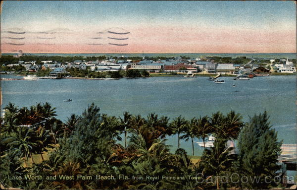 Lake Worth and West Palm Beach, Fla., from Royal Poinciana Tower Florida