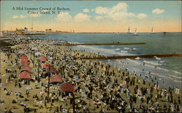 A Mid Summer Crowd of Bathers Coney Island New York