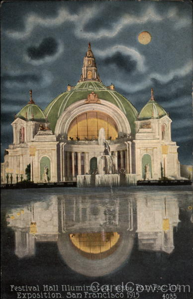 Festival Hall illuminated at the Pan-Pac Int. Exposition, 1915 San Francisco California