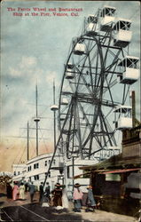 The Ferris Wheel and Restaurant Ship at the Pier Postcard