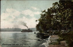 View of Riverboat and Bank on Chautauqua Lake, Long Point