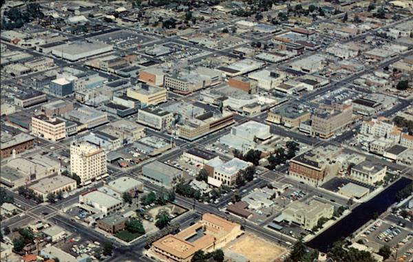 Aerial View of Downtown Business Section Bakersfield California