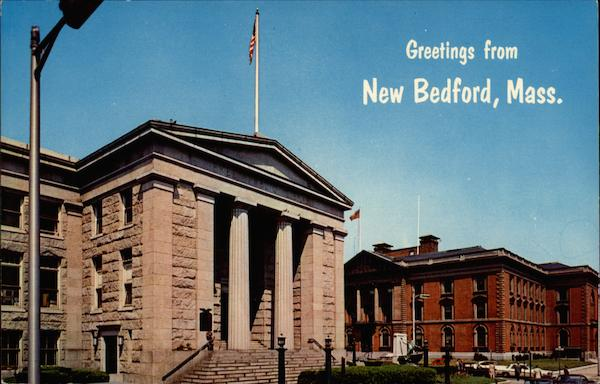 Greetings from New Bedford, Public Library and City Hall Massachusetts