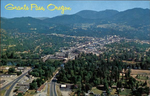 Aerial View Grants Pass, OR: cardcow.com/233436/aerial-view-grants-pass-oregon