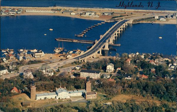 Aerial view of the Twin Lights and bridge Atlantic Highlands New Jersey