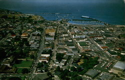 Aerial View of Downtown Monterey and Monterey Bay in the background