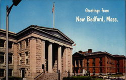 Greetings from New Bedford, Public Library and City Hall