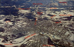 High Altitude aerial view of the Glens Falls area