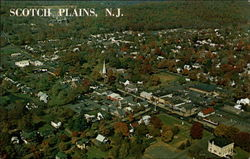Arial view of Scotch Plains, Union County Postcard