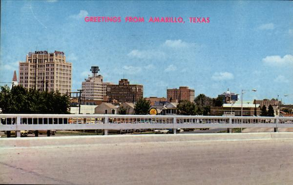 Skyline View of Downtown Amarillo as Viewed from the Expressway Texas