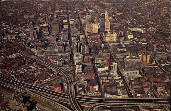 Bird's-Eye View of Buffalo's Business District New York