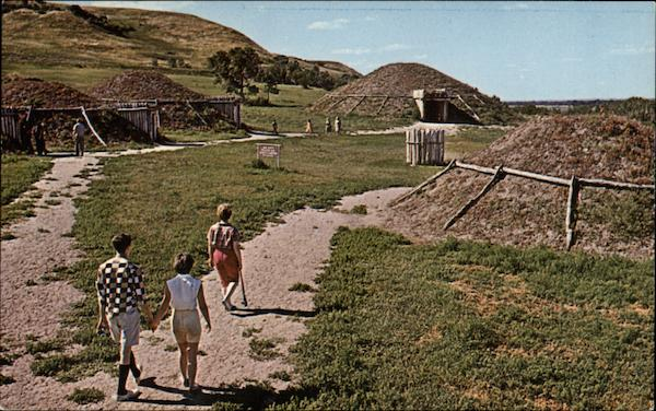 Mandan Indian Village - Ceremonial Lodge in the Background