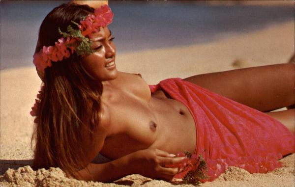 A Lovely Hawaiian Maiden on a Sunny Island Beach Risque & Nude
