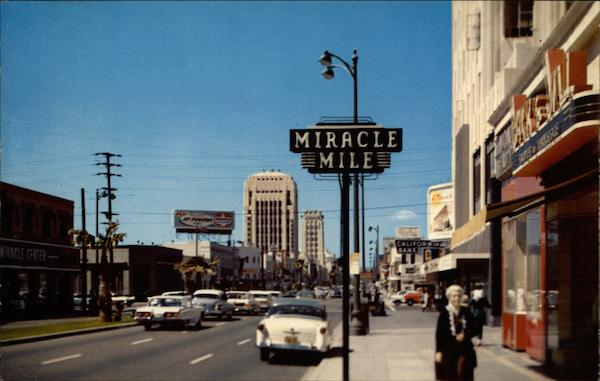 A Scene of the Miracle Mile, Along Wilshire Boulevard Los Angeles California