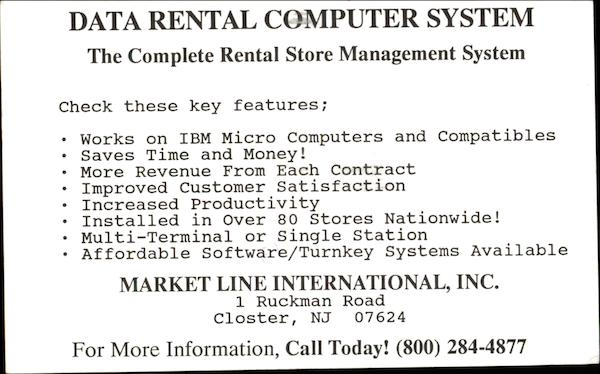 Data Rental Computer System Closter New Jersey Advertising