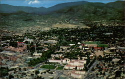 Air view of New Mexico State Capitol and City of Santa Fe
