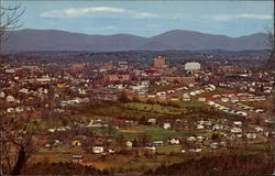 An Air-View of the City of Charlottesville, Showing Skyline Drive Mountain in the Background