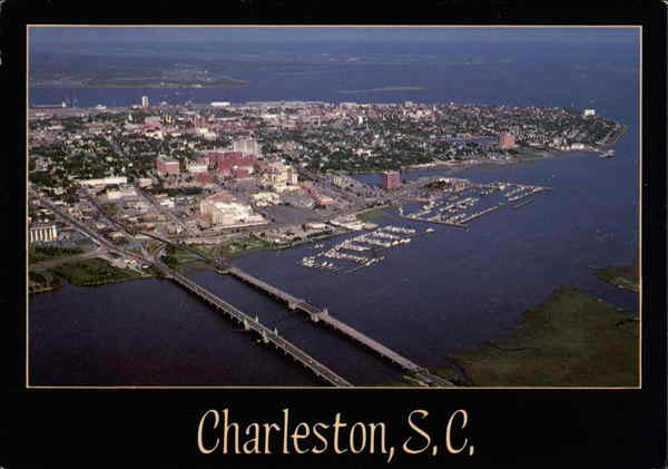 Aerial View across the Ashley River Charleston South Carolina