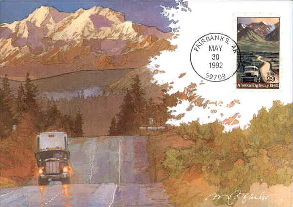 50th Anniversary of the Alcan Highway Alaska Maximum Cards