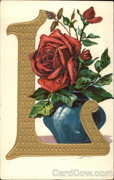 Initial L with red rose Alphabet Letters