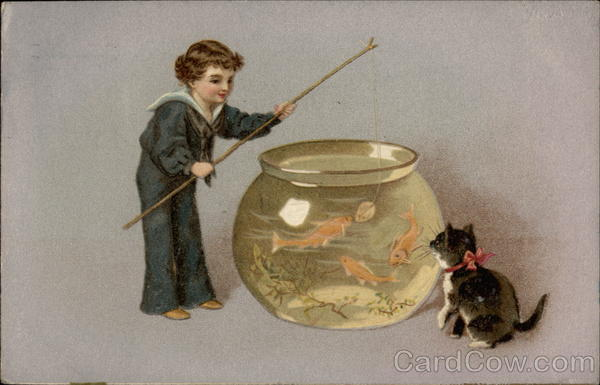 Child and cat fishing in a fish bowl Cats
