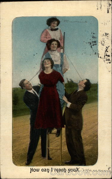 2 men holding 3 women up on ladder Couples