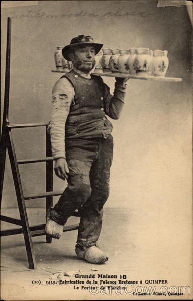 Man carrying jugs Vintage Postcard