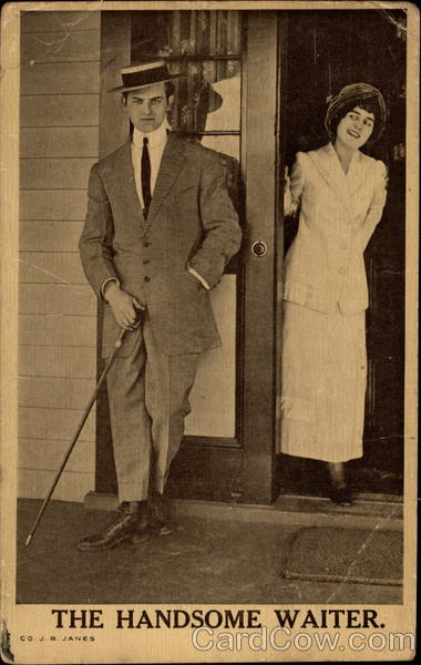 A man leans near a doorway while a lady peaks out at him