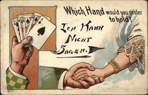 Poker hand and hand-holding cartoon Card Games