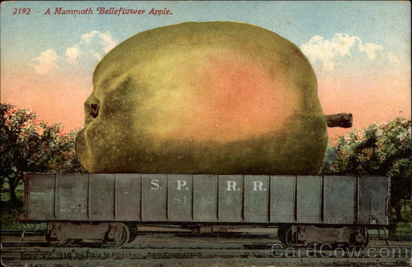 Apple in train car Exaggeration