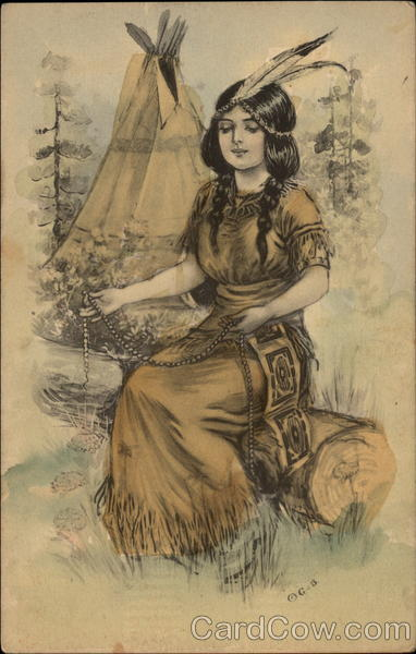Native american maiden sitting on a log Native Americana