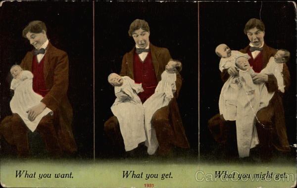 Man holds first one baby, then two, and then three