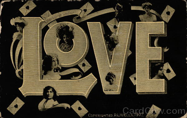 Love in big letters with women's portraits Large Letter