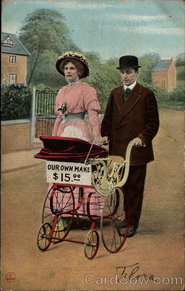 Man and woman pushing a baby stroller Babies