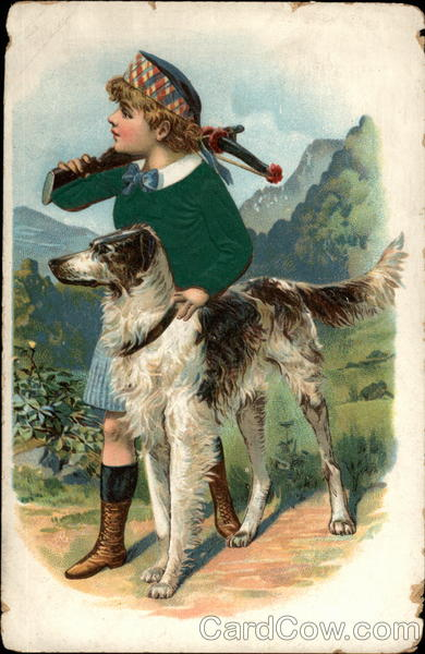 Boy with hunting dog Dogs
