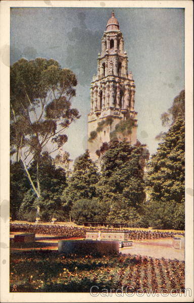 View of California Tower from the Alcazar Gardens Exposition