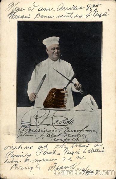 Chef carving a rib roast Postcard