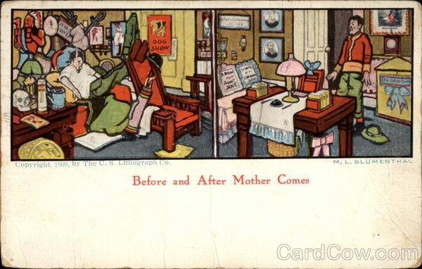 Before and after Mother comes Comic, Funny