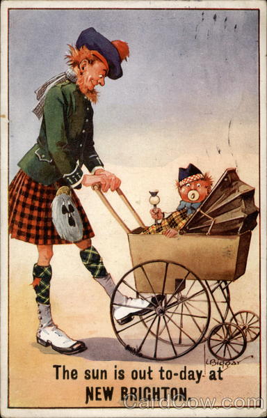 Man in kilt pushes a baby carriage with costumed baby