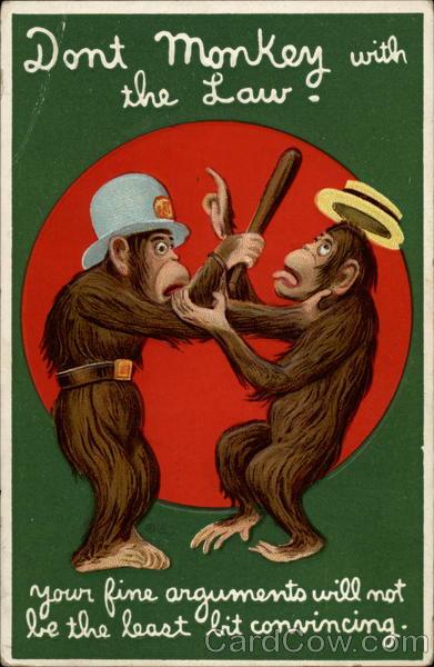 Monkey arresting another monkey E. Nash Monkeys