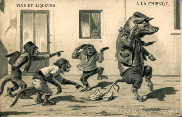 A La Chienlit (What a Shambles) Maurice Boulanger Monkeys