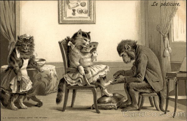 A Monkey Giving A Cat A Pedicure Maurice Boulanger