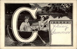 "Capital ""C"" with 2 girls in boat"