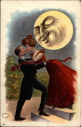 Couple Kissing By Moonlight Postcard