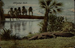 Five children fearfully watch a resting alligator