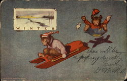 Winter bears sledding