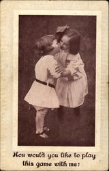 Two Young Children Kissing
